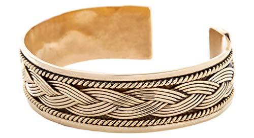 WINDALF Damen Handmade Vintage Armreif ARINA Ø 6 cm Celtic Armschmuck mit Zopfmuster Bohemia Freundschaftsband Bronze
