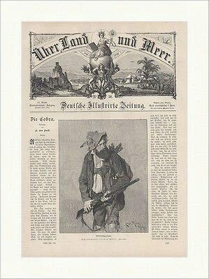 Kunstdruck Wildschützenbeute Ernst Müller Jäger Gewehr Wilderer Hut Holzstich E 18572