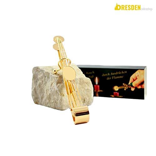 Dresden Onlineshop edle Kerzenlöscher Zange Gold 18 cm | zum geruchsneutralen Kerzen Löschen
