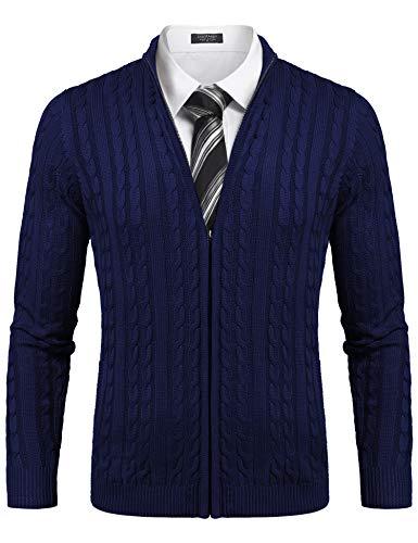 COOFANDY Mens Knitted Cardigan Full Zip Stand Collar Button Down Design Zipper Jumper Plain Coloured (Navy Blue, Medium)