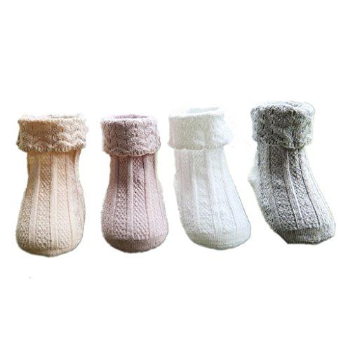 AMEIDD Chaussettes bébé 4 paires, Ensemble de chaussettes pour bébés en coton pour tout-petits enfant pour 0-4 ans (S 0-2 ans)