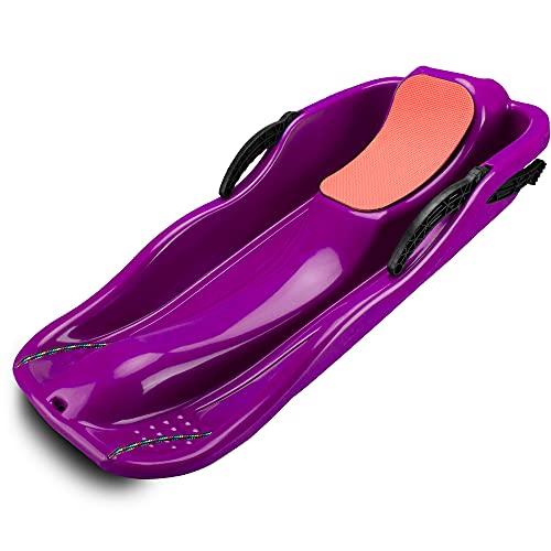 GANZTON Trineo de plástico con alfombrilla de esponja, mango de freno, cuerda de tracción, trineo para niños, trineo para nieve, trineo para niños, jóvenes, unisex, color lila