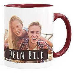 SpecialMe® personalisierte Fototasse mit eigenem Foto persönliches Geschenk Kaffeetasse mit Bild selbst gestalten inner-bordeaux Keramik-Tasse
