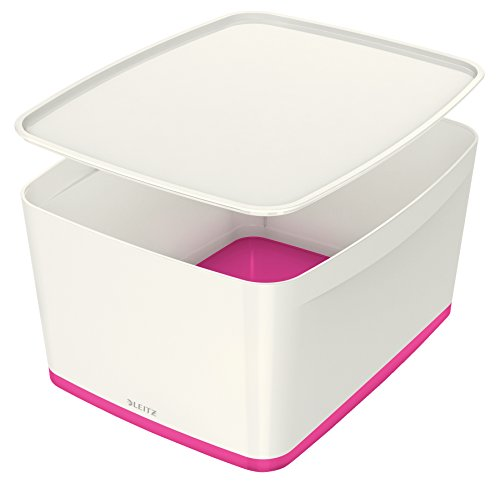 Leitz MyBox, Aufbewahrungsbox mit Deckel, Groß, Blickdicht, Weiß/Pink Metallic, Kunststoff, 52164023
