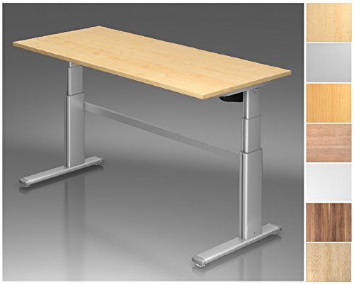 Elektrisch höhenverstellbarer Schreibtisch, Rechteckform, Arbeitshöhe 660-1300 mm, Gestell C-Fuß Silber, Tischplatte - Dekor:Nussbaum;Größe:2000 x 1000 mm
