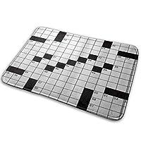 NIESIKKLA バスマット、Wordの数字で3D印刷された空白の新聞スタイルのクロスワードパズル、マット滑り止め ソフトタッチ 丸洗い 洗濯 台所 脱衣場 キッチン 玄関やわらかマット 40x 60cm