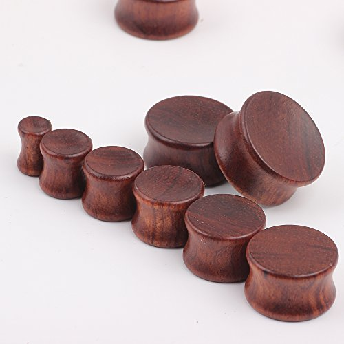 TIANCI FBYJS 3 Pairs Concavity Wooden Gauges Hollow Wood Ear Tunnels Plugs for Women Men Black Earrings Stretcher Piercing Expander Set (00g=10mm)