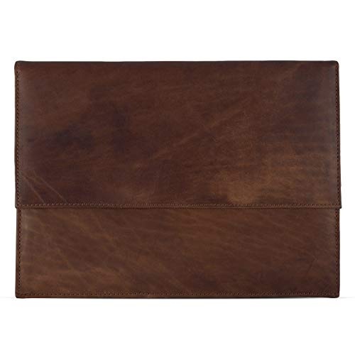 eFabrik Schutzhülle für Huawei MateBook E Ledertasche (passend für MateBook E 12' + Tastatur-Hülle) Schutz Tasche Vintage Hülle Cover Sleeve, Farbe:Cognac Braun - 4