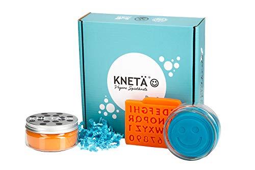 KNETÄ® Knete Set Geschenkideen Kindergeburtstag I Kleinkinderknete I natürliche Einsatzstoffe, Spielwaren Spielknete (2er Set, Türkis/Orange)