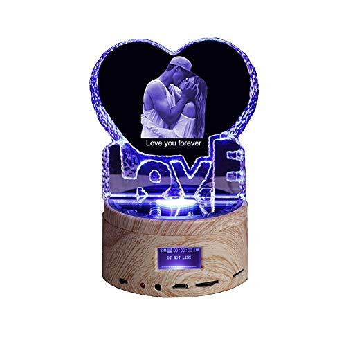 Personalisierte Foto Nachtlicht rotierende Bluetooth Benutzerdefinierte Herzform Kristall Farbe ändern Led Lampe Musik Player 3D Nachtlicht für Home Decoration Schreibtisch Licht