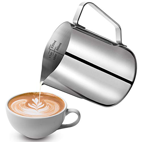 Milchkännchen, 350 ml, Edelstahl, Milchkännchen, Milchaufschäumkännchen, Tasse mit Messmarkierung und Latte Art Stift, Milchkännchen, perfekt für Barista, Cappuccino, Espresso