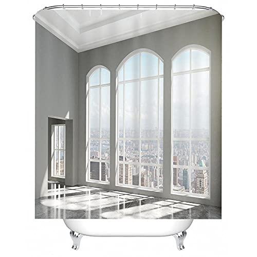 BROLAZ Duschvorhäng 183x183cm Balkon Blick auf die Stadt Duschvorhang Anti-Schimmel Duschvorhang aus Polyester Wasserabweisend Shower Curtain Anti-Bakteriell mit 12 Duschvorhangringen