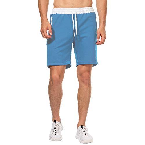 CHYU Pantaloncini Palestra Uomo, Sport e Allenamento Fitness Shorts Jogging Pantaloni Bermuda Uomo (Blu Cielo, XL)