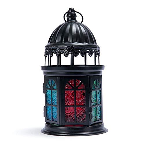 LYA lamp van smeedijzer, retro-stijl, eenvoudige kroonluchter met wit slot, decoratie voor tuin, kantoor, slaapkamer, woonkamer en als cadeau