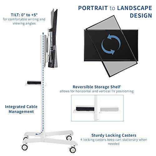 VIVO Mobile Premium TV Cart for 37 to 70 inch Flat Screens, Samsung Digital Flipchart, Microsoft Surface Hub 2S, Luxury Portrait to Landscape TV Display Stand with Wheels, White STAND-TV02PW Photo #7