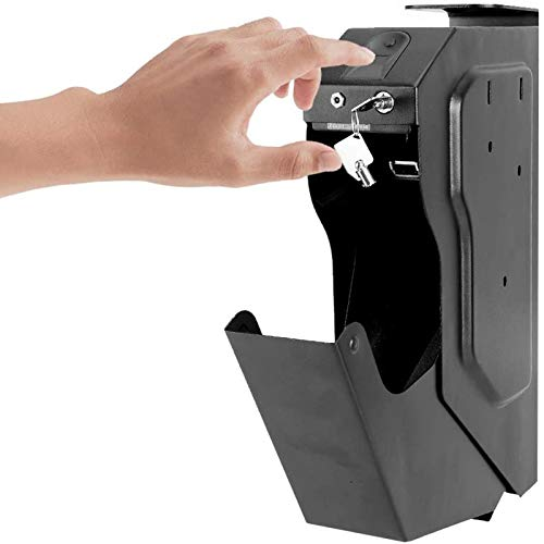 WDSZXH Caja de Seguridad para Pistola, Caja Fuerte Portátil para Dinero, Caja de Seguridad Biométrica de Huellas Dactilares, Desbloqueo Rápido de Huellas Dactilares