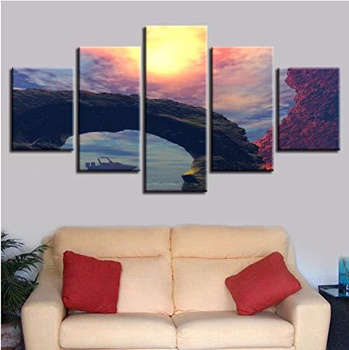 Canvas schilderij 5 stuks hoofddecoratie strand rok landschap muurschildering 40x60cm 40x80cm 40x100cm Frame