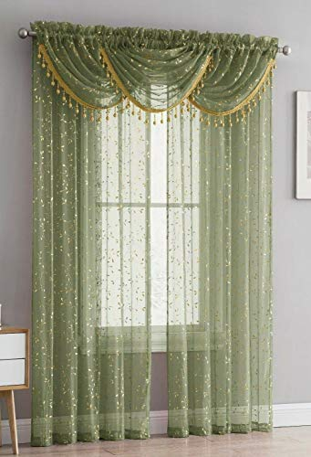 Luxury Home Textiles Adeline 5 Piece Curtain Set with Beaded Austrian VALANCES (Sage Green/Gold)