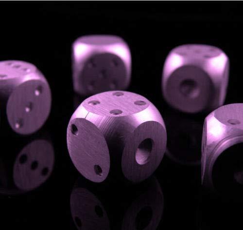 D6 アルミニウム製ゲーム用サイコロ 5点セット 6面 ボードゲーム RPG パープル