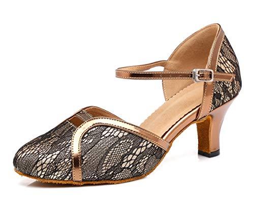 Hanfike Zapatos de noche de tacón bajo Bombas de boda de encaje, Gold, 34 EU