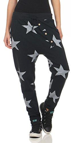 Malito Damen Jogginghose mit Knopfleiste | Sporthose mit Sternen | Baggy zum Tanzen | Sweatpants - Trainingshose 3303 (schwarz)