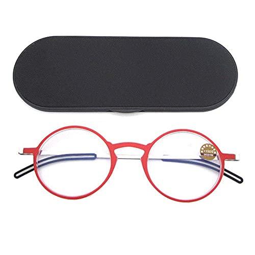 ZZAI Gafas de Lectura Hombres y Mujeres Anti-Blue Light HD/Marco Redondo Ultrafino portátil de la presbicia de la presbicia -6 Diopters Red- + 2.0 (Color : Negro, Size : +1.5)
