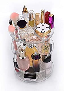 GOUMAO Clear Makeup Organizer Rotatable Cosmetic Jewelry Storage Holder for Lipsticks Eyeshadow Nail Polish