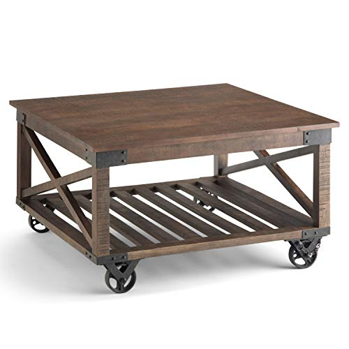 SIMPLIHOME Harding SOLID MANGO WOOD and Metal 32 inch Wide Square Industrial Coffee Table in Distressed Dark Brown, for the Living Room and Family Room