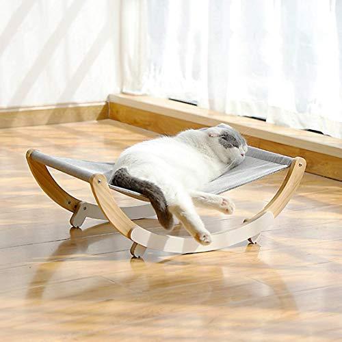 Weichuang 2 en 1 Hamaca con Estructura de Madera para Gato Gatito, 59.2x37x20cm Cama Elevada para Dormir Gatos Cachorros Plegable Cómodo para Todo el Año