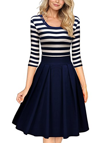 Miusol Women's Navy Style Stripe Scoop Neck 2/3 Sleeve Casual...