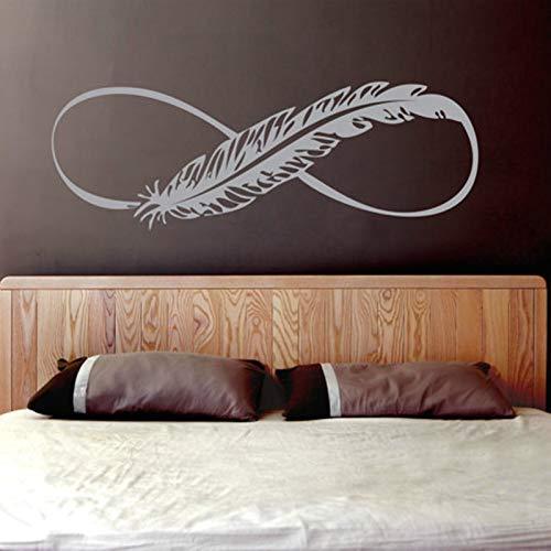 hetingyue Art muurtattoo, vinyl, oneindigheidsteken, vogel met veer, afneembaar, logo boho, slaapkamer, ramen, decoratie, poster