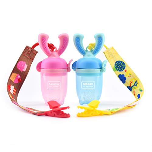 Aibaolo Baby Food Feeder Pacifier (2 Pack) with 2 Pacifier Clips - Fresh Fruit Feeder Infant Fruit Teething Toy in Appetite Stimulating Colors(Blue and Pink), Silicone Pouches for Toddlers & Kids
