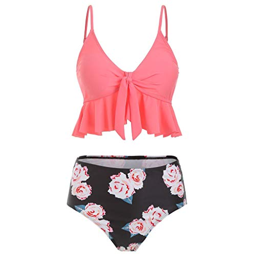 QingJiu Frauen Gekräuselte Hohe Taille Polka Punkt Drucken Push Up Bikini Geteilter Badeanzug