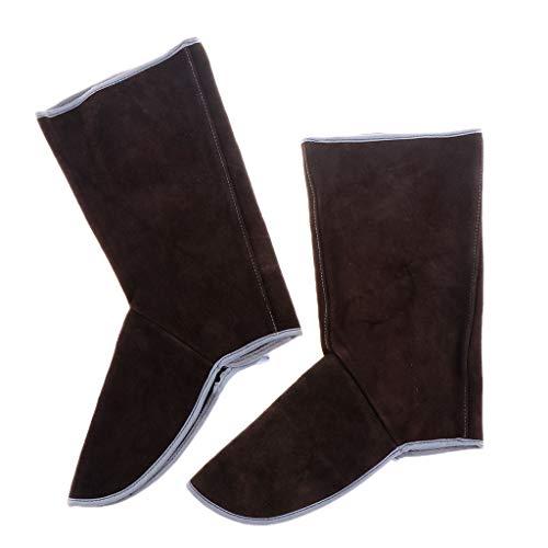 Schweißer Gamaschen Lange Rindsleder Schweißer Schutz Schuhe Füße Cover Welder feuerhemmend - Braun