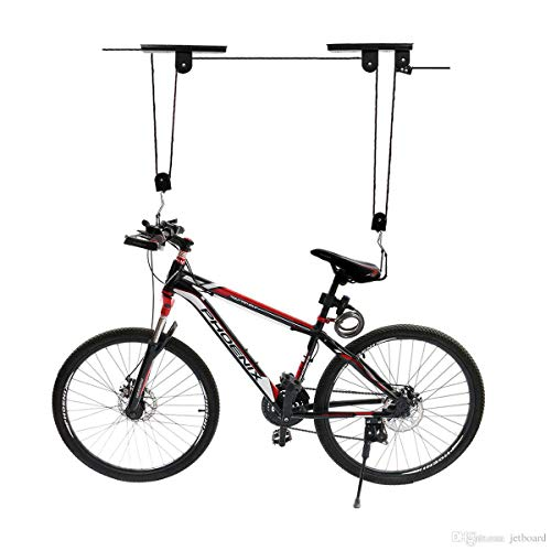COCONUT Bike Lift Hoist for Garage Storage,Indoor Heavy Duty Ceiling Mountain Bicycle Hanger Pulley Rack (with Black Rope)