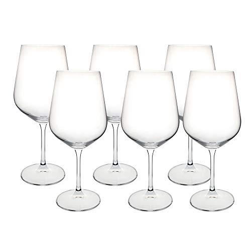 Bohemia Crystal 138157 Juego de 6 Copas de Vino Tinto Grandes, Multicolor, 580 ml