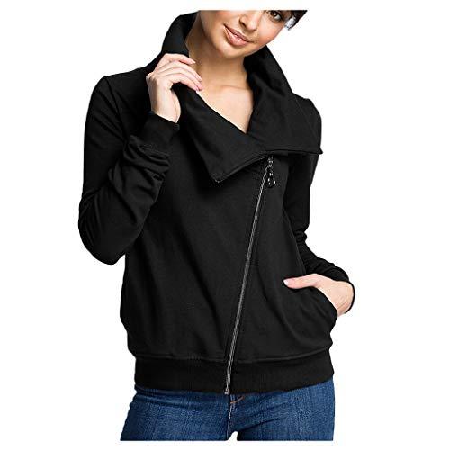 Inawayls Damen Übergröße Hoher Kragen Top Asymmetrische Pullover Casual Plus Size Einfarbig Damen Tunika Langarm