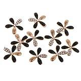 10 Pcs Cuenta de Margarita de Multicolores para Manualidad de Joya Pendiente a Mano - flor simple (diamante negro)