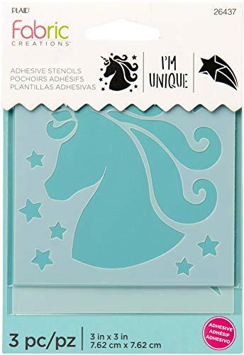 Plaid Fabric Creations Adh Stencil 3x3 3pc Unicorn