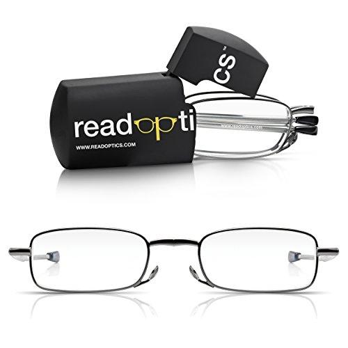 Read Optics faltbare Brille: Vollrand Lesehilfe in Stärke 1,5 Dioptrien für Herren/Damen. Mit Hartschalen-Etui, flexiblen Metall-Bügeln und Federscharnier. Hochwertige Gläser, dunkelgrauer Rahmen