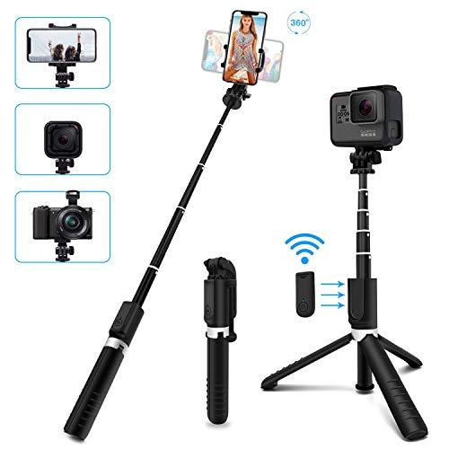 SYOSIN Selfie Stick Stativ, Selfiestick 4 in 1 Erweiterbar Selfie-Stange mit Bluetooth-Fernauslöse 360° Rotation Handyhalter für GoPro Action-Kamera und alle 3,5-6.5 Zoll iPhone Android Smartphones