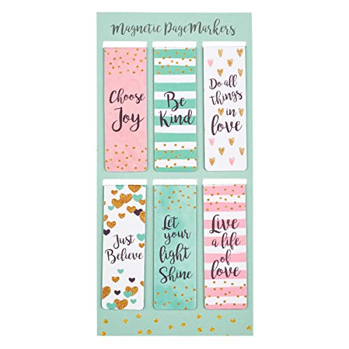Christian Art Gifts Set of 6 Choose Joy Be Kind Just Believe Inspirational Magnetic Bookmark, Sparkle Collection, Size Small 2.3' x .75'