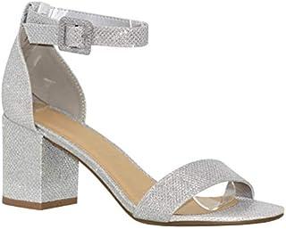 MVE Shoes Women's Open Toe Single Band Buckle Ankle Strap Chunky Low Mid Block Heel Sandal