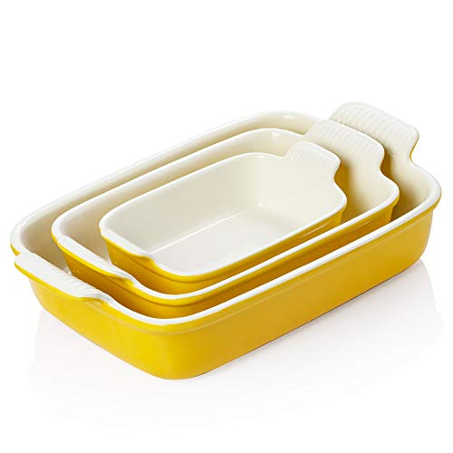 SWEEJAR Porcelain Bakeware Set for Cooking, 13 x 9.8 inch Ceramic Rectangular baking dish Lasagna Pans for Casserole Dish, Cake Dinner, Kitchen, Banquet and Daily Use (Yellow)