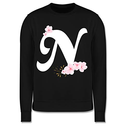 Shirtracer Anfangsbuchstaben Kind - Buchstabe N mit Kirschblüten - 128 (7/8 Jahre) - Schwarz - Kirschblüte - JH030K - Kinder Pullover