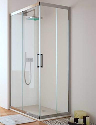 Hoekige douchecabine – 2 vaste lemmet en 2 schuifdeuren – veiligheidsglas 6 mm – model Trescientos Q4 90 X 110 cm Transparant glas