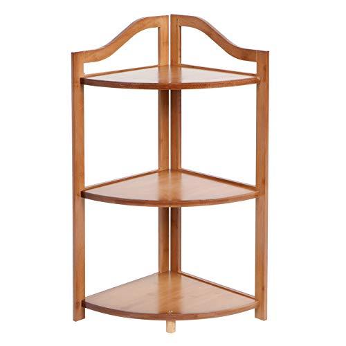 Estante de esquina, soporte de esquina, baño, estante de mesa de esquina multiusos, soporte de planta para cocina, baño(Three layers of brown)