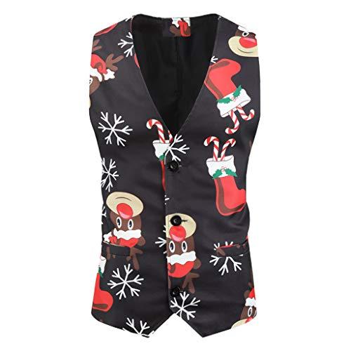 LUNULE Chaleco De Navidad para Hombre De Muñeco De Nieve Chaqueta Vintage Sin Mangas con Botones Moda Abrigos Multicolor Jacket para Cóctel Fiesta Navideño Nochebuena Carnaval M-3XL