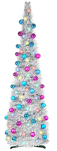 TURNMEON 5 Foot Pop Up Christmas Tinsel Tree with 50 Color Lights, Pre-lit Christmas Tree Decoration with Ball Ornaments Battery Operated Xmas Decoration Indoor Home Decor (Silver)
