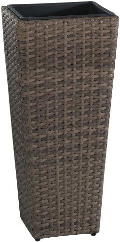 Weles GMBH Cuba para Plantas de polyrattan Marca gartenfreude Incluye Insertos plásticos para el Interior y el Exterior, Capuchino, 28 x 28 x 60 cm